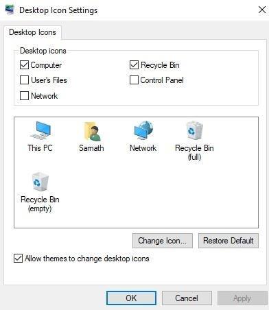 Restaurer les icônes de bureau manquantes dans Windows 10
