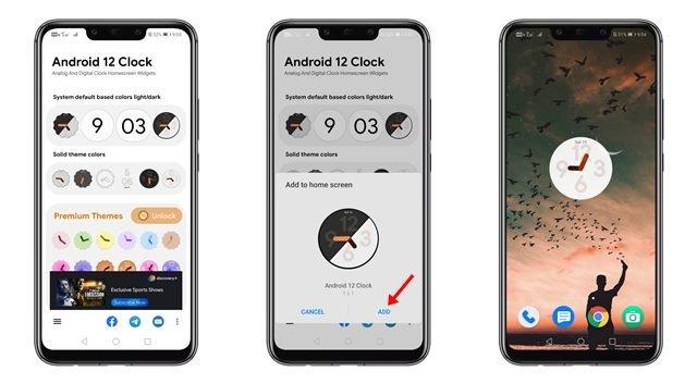 Utilisation des widgets d'horloge Android 12