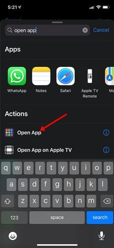 appuyez sur l'action Ouvrir l'application.