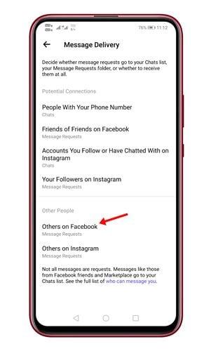 appuyez sur l'optionAutres sur Facebook.