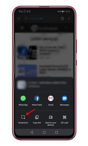 appuyez sur l'option Capture d'écran.