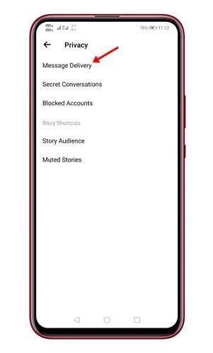 appuyez sur l'option Livraison des messages.