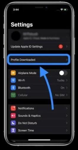 appuyez sur l'option Profil téléchargé.