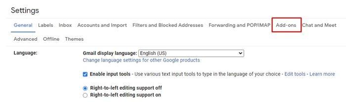 cliquez sur l'onglet Modules complémentaires.