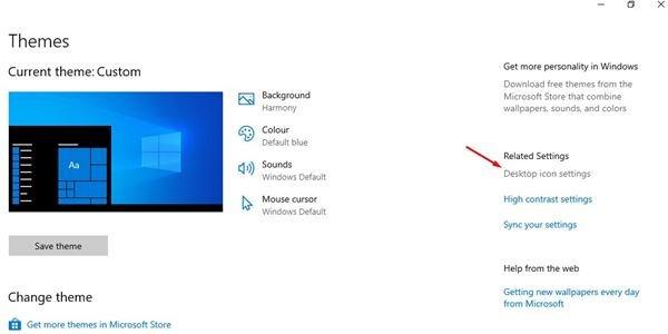 cliquez sur l'option Paramètres de l'icône du bureau.