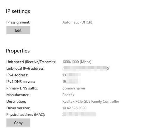 défiler vers le bas et trouvez l'adresse IPv4.