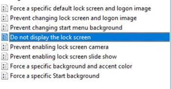 double-cliquez sur l'option Ne pas afficher l'écran de verrouillage.