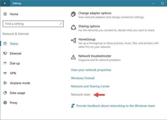 paramètres réseau sur Windows 10