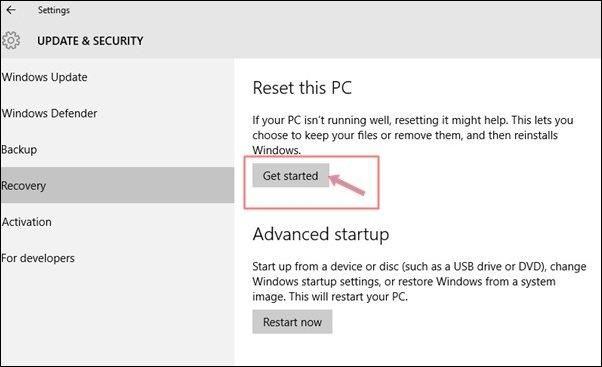 réinitialiser un PC Windows 10
