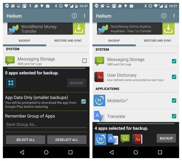 sauvegarder et effacer Android