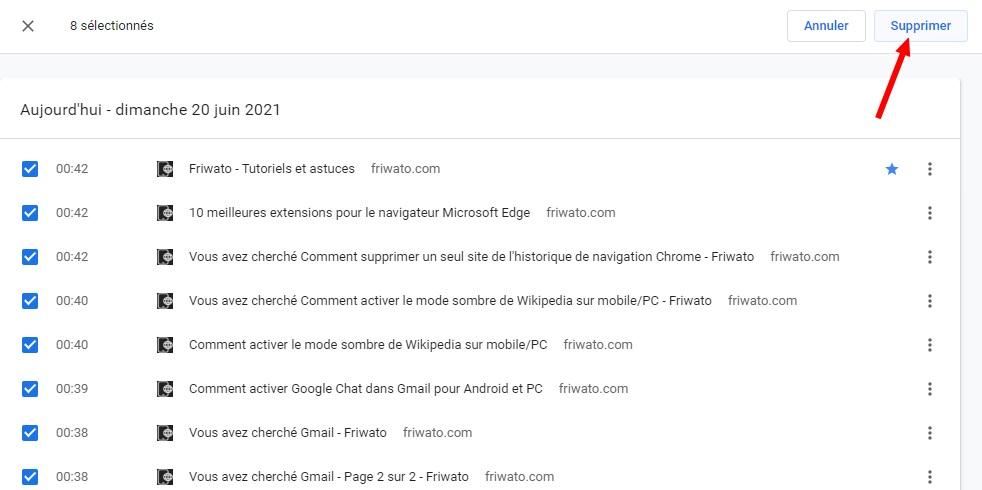 supprimer un seul site de l'historique de navigation Chrome
