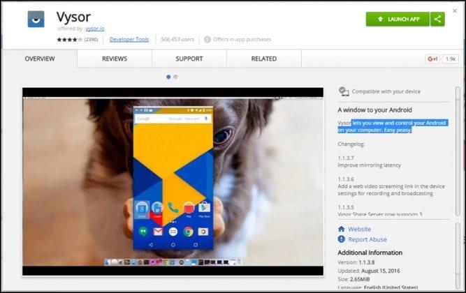 télécharger et installer l'application Vysor