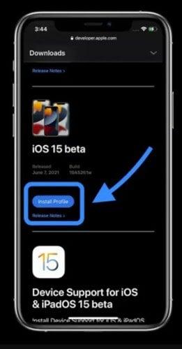 version bêta du développeur iOS 15
