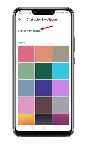 appuyez sur l'option Choisir parmi les photos.