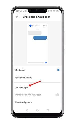 appuyez sur l'option Définir le fond d'écran.