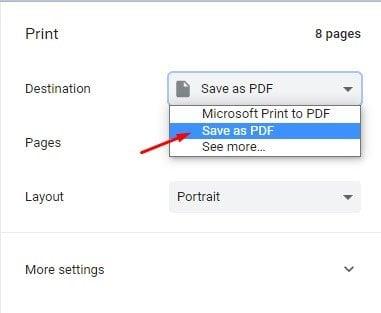 sélectionner l'option Enregistrer au format PDF.